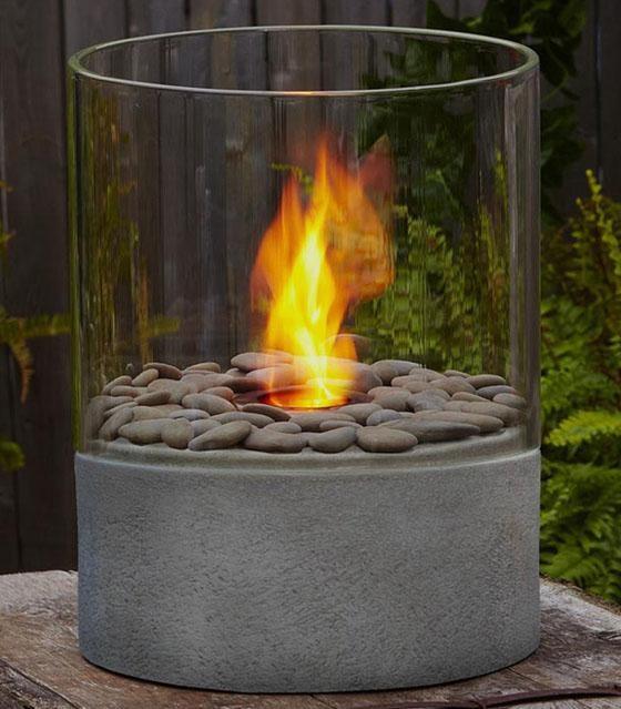 Modesto Fire Column Contemporary Tabletop Fireplaces