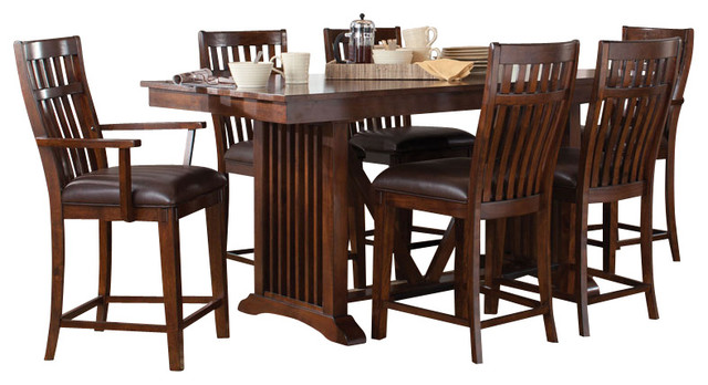 Standard Furniture Artisan Loft 8 Piece Counter Dining Room Set In Aged Bronz