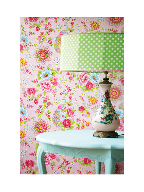 Floral Wallpaper - Peacocks and flower wallpaper in a delightful pink palette by Eijffinger available from Brewster Home Fashions