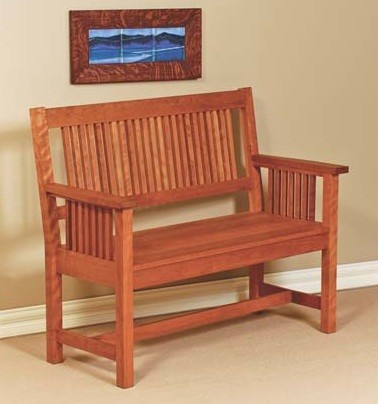 mission bench with back and arms traditional indoor benches seattle by mckinnon furniture. Black Bedroom Furniture Sets. Home Design Ideas