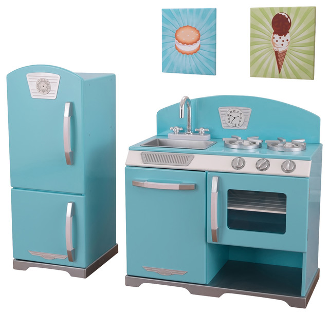 Kidkraft kids girls pretend play toy blue retro kitchen for Kitchen set for babies