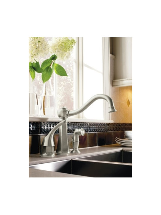 Moen Vestige Stainless one-handle high arc kitchen faucet - The richly detailed Vestige® line features nostalgic designs topped with a finial accent that compliment traditional decor.