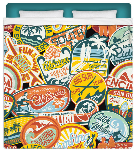"""Eco Friendly """"California Surf Vintage Stickers"""" Queen Size Sheet Set beach-style-sheet-and-pillowcase-sets"""