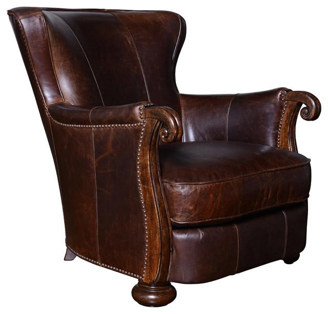 ART Furniture Kennedy Walnut Leather Lounge Chair With Wood Arms Dark Oak