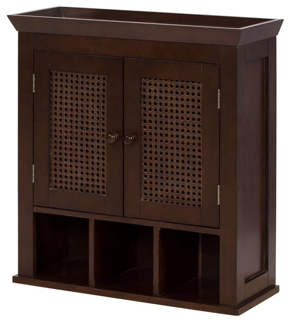 Cane 2 Door Wall Cabinet with Cubbies - Traditional - Medicine Cabinets - by Elegant Home Fashions