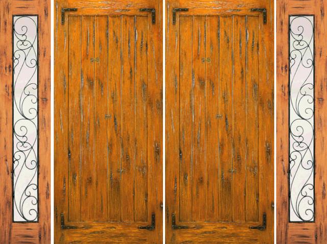 Double Door with Two Sidelites Exterior Pre-hung Knotty Alder rustic-front-doors