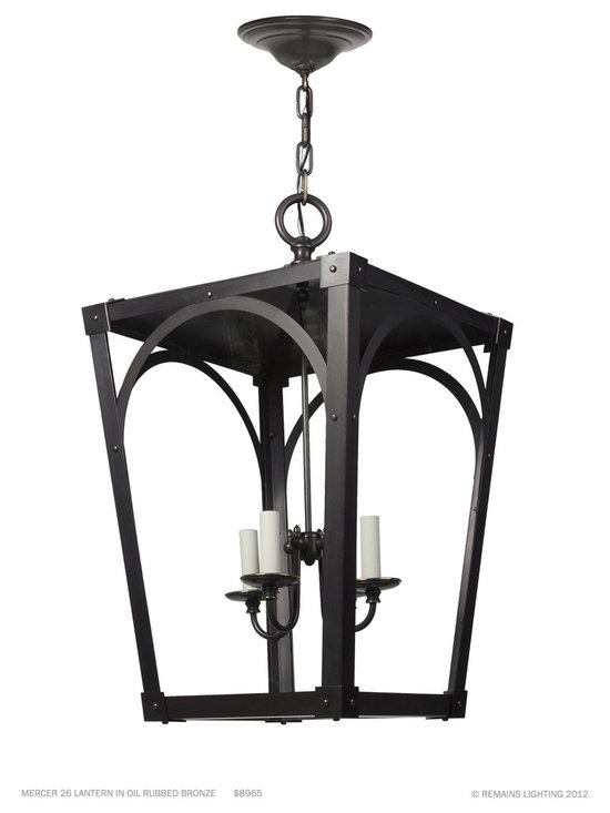 Remains Lighting - Mercer Lantern by Remains Lighting - Inspired by stable windows seen in the Pennsylvania countryside, Mercer uses traditional, spare architectural profiles and clean expressed joinery. Shown in Oil Rubbed Bronze.