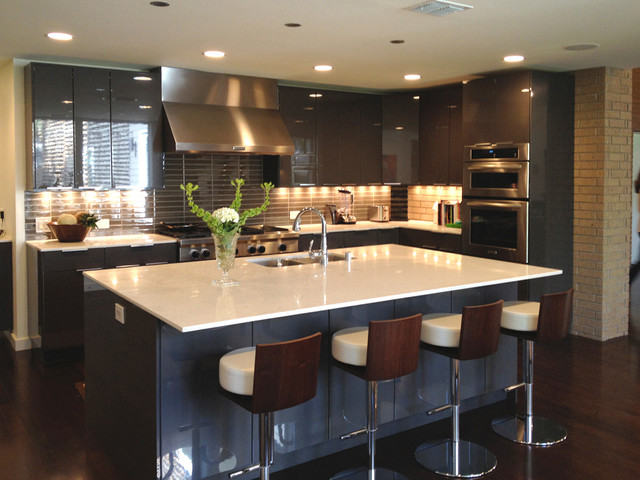 Modern kitchen contemporary kitchen dallas by bauhaus custom homes Kitchen design pictures modern
