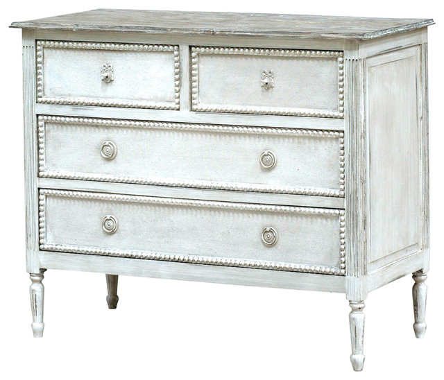caroline french country antique white solid wood 4 drawer dresser dressers by kathy kuo home. Black Bedroom Furniture Sets. Home Design Ideas