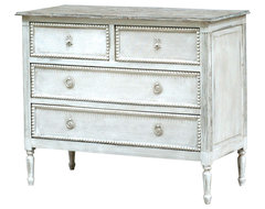 Caroline French Country Antique White Solid Wood 4 Drawer Dresser dressers-chests-and-bedroom-armoires