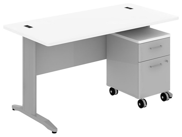 "Bush Sector 60"" Desk with 2-Drawer Pedestal in White transitional-desks-and-hutches"