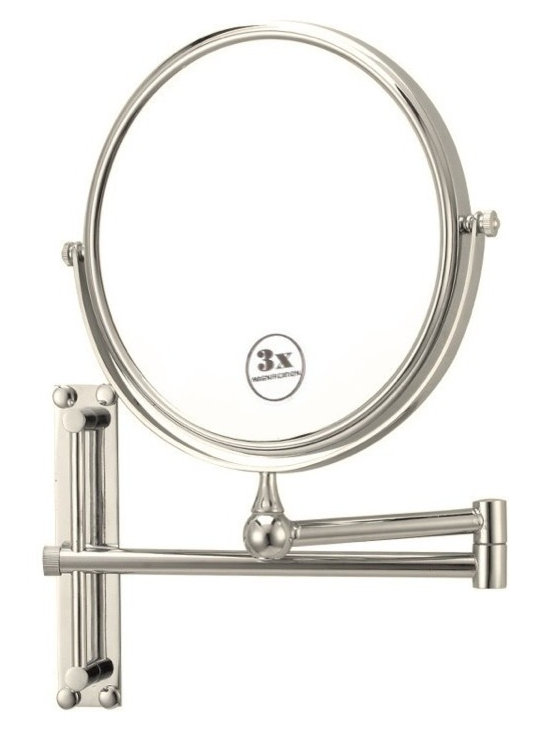 Nameek's - Round Wall Mounted 3x Magnification Mirror, Satin Nickel - With an 8 inch double face, this mirror is a beautiful addition to any master bathroom/vanity.