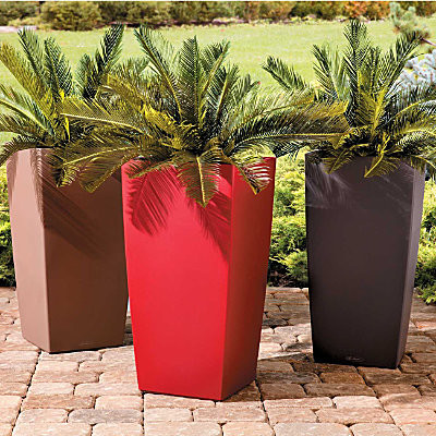 Self Watering Square Tall Tapered Planter Modern Smooth