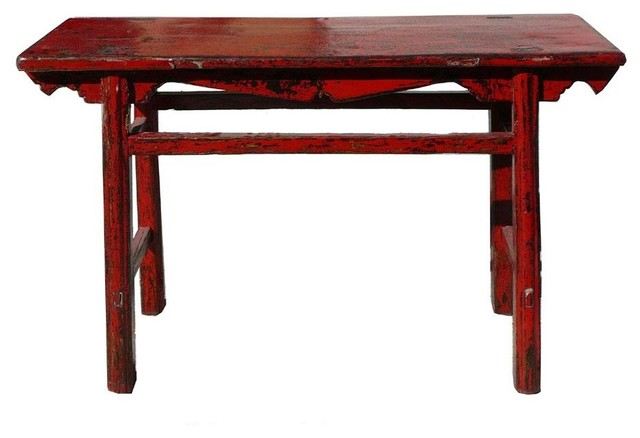 Chinese Thick Rustic Red Lacquer Console Altar Table - Eclectic - Console Tables - by Golden ...