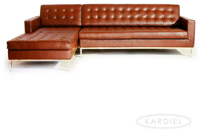 Kardiel midcentury modern florence left sectional caramel for Florence modern sectional sofa