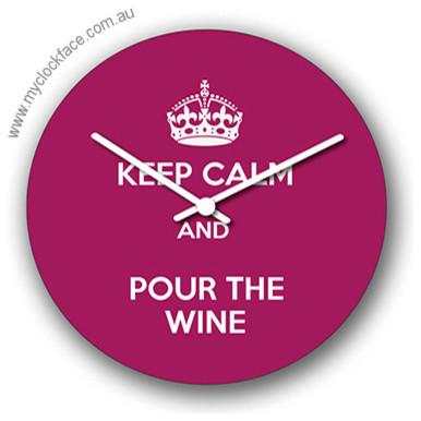 Keep Calm and Pour the Wine 300mm contemporary-clocks