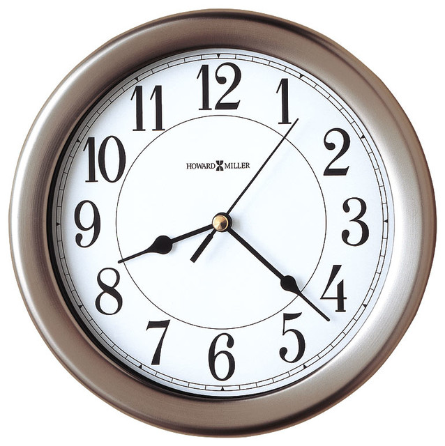 Brushed Nickel 12 Hour Wall Clock With Lockin