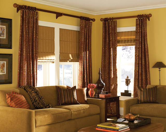 Classic roman shades traditional living for Traditional curtains for living room