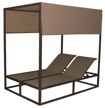 Panama Jack Island Breeze Canopy Daybed with Removable Top - Espresso contemporary-outdoor-chaise-lounges
