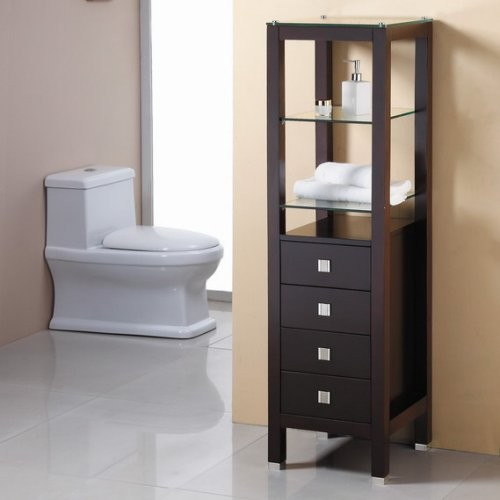 Virtu USA Espresso Bathroom Side Cabinet - Contemporary ...