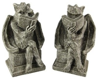 Cool Bookworm Gargoyle Book Ends Bookends Reading traditional-sculptures