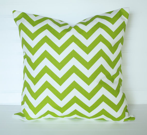 Chevron Green Pillow Cover by The Lacey Placey contemporary-decorative-pillows
