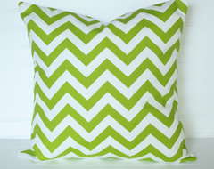 Chevron Green Pillow Cover by The Lacey Placey contemporary-pillows