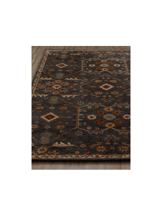 "Horchow - ""Mykawa"" Rug - Intriguing rug features an overall floral motif arranged cartouche-style on a dark ground to provide artistry for the floor. Hand-tufted wool pile. Cotton backing. Sizes are approximate. Imported. See our Rug Guide for tips on how to measure fo..."