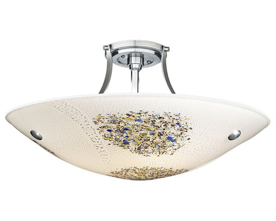 "LBL Lighting - LBL Veneto Grande Nickel Opal Glass 23 1/2"" Ceiling Light - This semi-flushmount nickel-finish ceiling light from LBL Lighting's Veneto Collection brings style and shimmer to any space. The opal Murano glass bowl features inlaid silver flake details and a delicate small frit accent pattern. Add some sparkle to your decor with this unique design. From the Veneto Collection. Nickel finish. Opal glass. Semi-flushmount with Murano glass bowl. Takes three 100 watt bulbs (not included). 11 3/4"" high. 23 1/2"" wide.  From the Veneto Collection.  Nickel finish.  Opal glass.  Semi-flushmount with Murano glass bowl.  Takes three 100 watt bulbs (not included).  11 3/4"" high.  23 1/2"" wide."