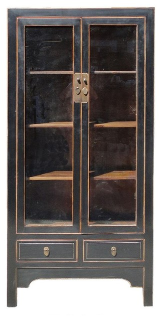 Chinese Solid Elm Wood Black Lacquer Glass Door Display Cabinet - Contemporary - Storage Cabinets