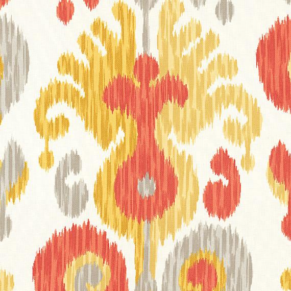 Orange Ikat Indoor Outdoor Fabric Modern Outdoor