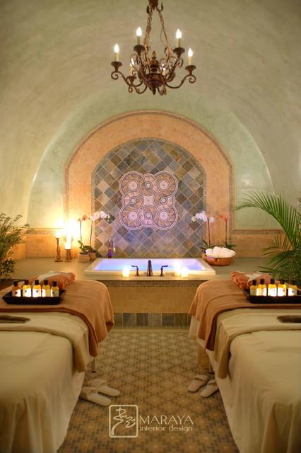 Spa room italian tuscan style traditional bathroom for Spa decorated bathroom ideas