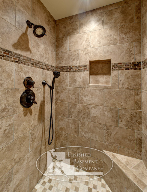 Basement tiled shower traditional bathroom denver for Earth tone bathroom ideas
