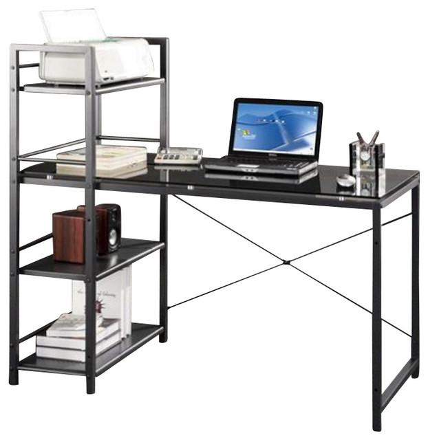 Techni Mobili Tempered Glass Laptop Desk in Black Modern