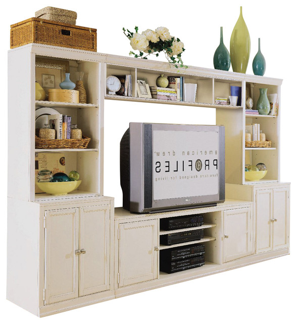 American Drew Camden Light Living Room Entertainment Center In White Painted 5 Traditional