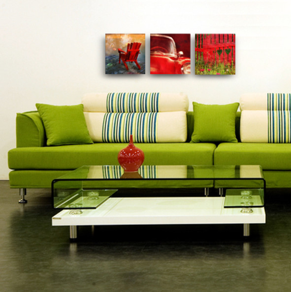 Set of 3. Red canvas art. 12/12 contemporary artwork