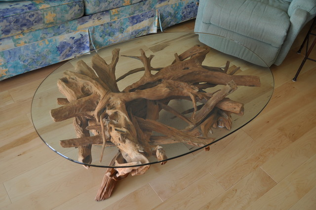 New Smyrna Beach Driftwood Glass Coffee Table Contemporary Other Metro By Driftwood Decor