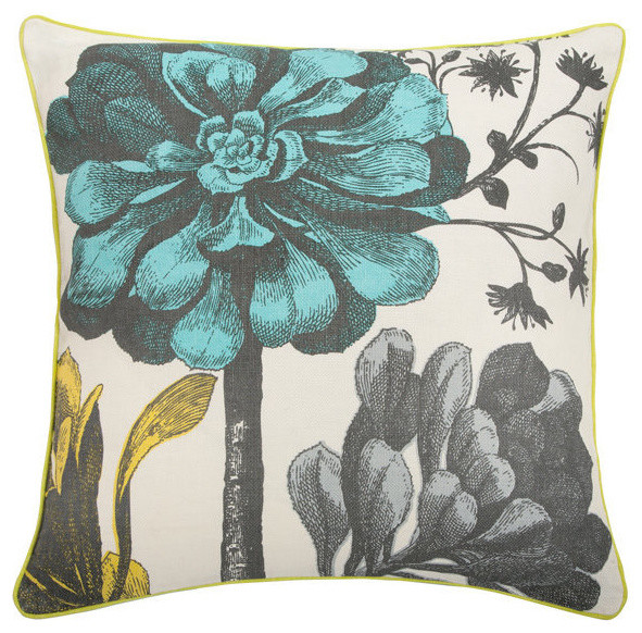 Thomas Paul Aqua Botanical Linen Pillow eclectic-decorative-pillows