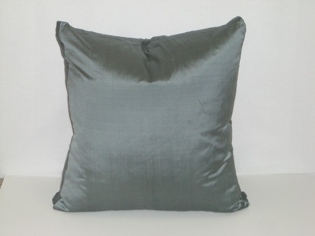 Steel Blue Silk Pillow - Eclectic - Decorative Pillows - other metro - by Details of Design