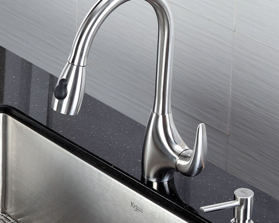 Kraus Single Lever Stainless Steel Pull Out Kitchen Faucet KPF-2170 - •	Update the look of your kitchen with this multi-functional Kraus pull-out faucet