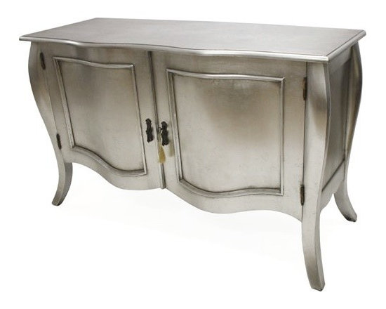 Chichi Furniture Exclusives. - A beautiful stylish sideboard featuring stunning shape and curves. Finished in classic silver leaf with hand applied antique glaze.