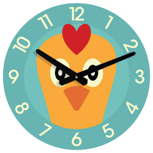 Comwall Clock For Kids Room : Chicken WALL CLOCK for kids room - Traditional - Kids Clocks - by ...