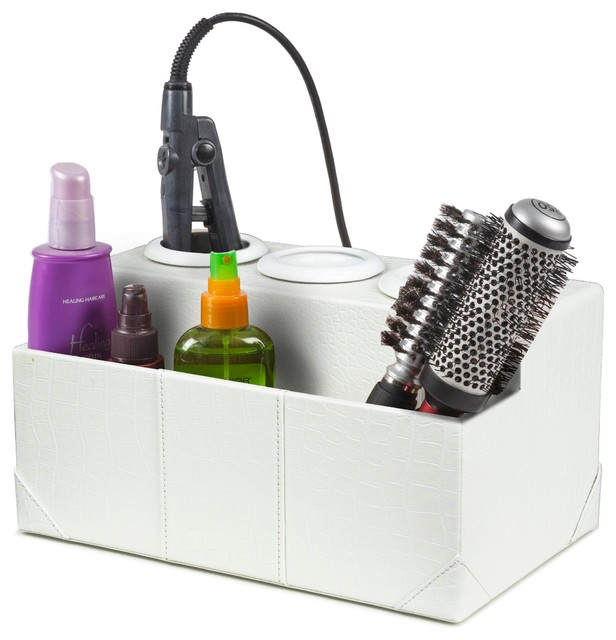 White crocodile leatherette hair styling station - Organizer bagno ...