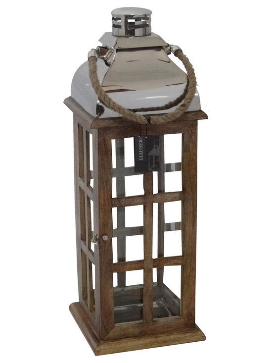 Hauser Estate Lantern - Mango Wood - Medium - The Estate lantern made of mango wood with rope.