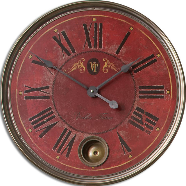 "Regency Villa Tesio 23"" Red Wall Clock traditional-wall-clocks"