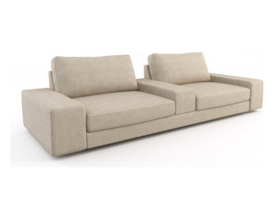 Strata Cinema Sofa - The perfect cinema sofa. The Cinema Sofa was used in an episode of The Antonio Treatment on HGTV. See pics on this page. The Strata Cinema is setup as the perfect movie and TV watching seating solution. It has a deep frame and ottomans to help you relax, as well as an arm in the middle to act as a table for food and drinks. Low, wide arms invite additional guests to sit, can be hallowed out for storage, and act as more table surface. It really can't get any better than this for a home theater space. Can be made in over 200 fabrics and your choice of legs and filling.