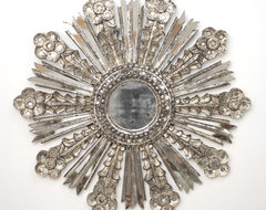Worlds Away Bella Starburst Mirror in Silver Leaf traditional mirrors