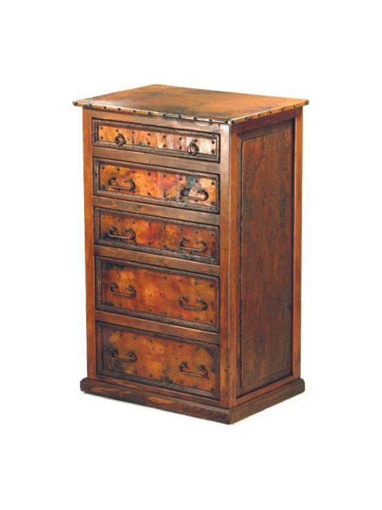 Mexican Artisans - Yosemite Tall Copper Dresser - This rustic wood dresser with copper top and copper drawer inlays is exquisitely hand crafted with plenty of style. The rustic look is complete with the addition of the iron hardware. From a rustic log cabin to a Southwest or Sante Fe style estate, our copper line of bedroom furniture will add casual elegance to your decor.