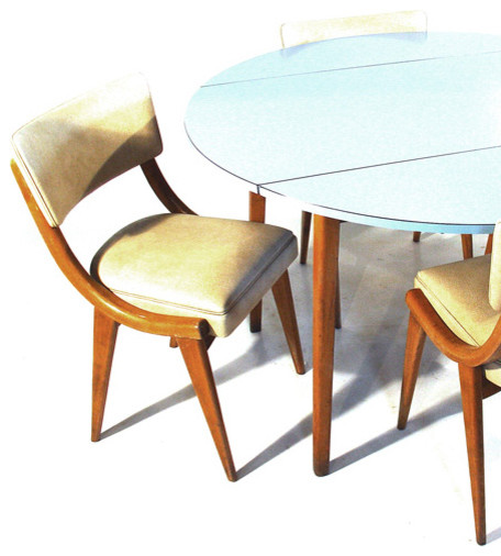 Circular Drop-Leaf Table and Chairs - Contemporary ...