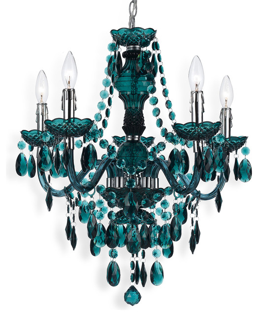 Blue Green Global Bazaar Bohemian 5 Light Beaded Swag ...